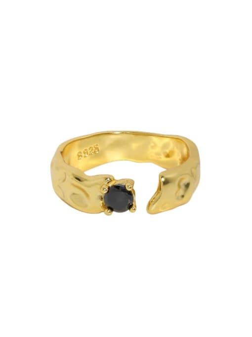 18K gold [14 adjustable] 925 Sterling Silver Cubic Zirconia Irregular Vintage Band Ring